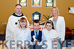 Angels<br /> ---------<br /> Fr Pat Crean-Lynch with 3 pupils, Darragh O'Sullivan, Sophie Leen&amp;Emily Rola from Flemby NS, Ballymac, Tralee, who made their First Holy Communion, with their teacher, Fiona Cooke, in the church of the Immaculate Conception, balsamic last Saturday morning.