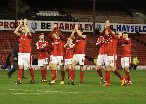 01.03.2016. Oakwell Stadium, Barnsley, England. Skybet League One. The Barnsley team Applaud their fans