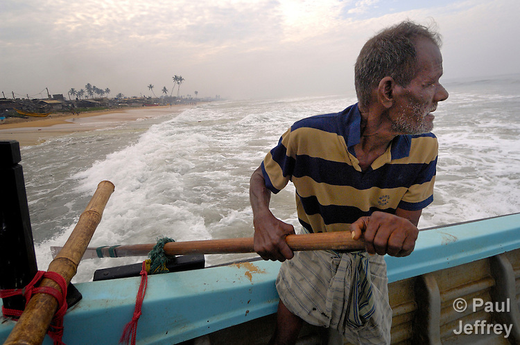 Michel Fernando, a fisherman in Moratuwa, goes to sea with a boat and equipment provided by the National Christian Council of Sri Lanka, part of ACT International--an ecumenical network of disaster agencies.