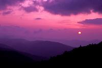 North Carolina, NC, Sunrise from the Blue Ridge Parkway near Grandfather Mountain.