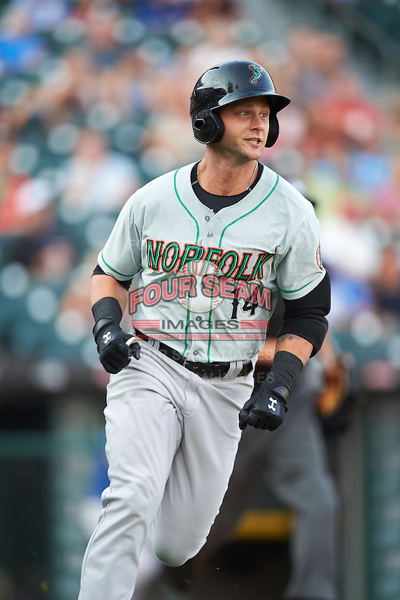 Norfolk Tides designated hitter Christian Walker (14) runs to first after hitting a home run during a game against the Buffalo Bisons on July 18, 2016 at Coca-Cola Field in Buffalo, New York.  Norfolk defeated Buffalo 11-8.  (Mike Janes/Four Seam Images)