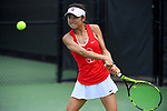 WINSTON SALEM, NC - MAY 22: Emma Higuchi of the Stanford Cardinal hits a backhand against the Vanderbilt Commodores during the Division I Women's Tennis Championship held at the Wake Forest Tennis Center on the Wake Forest University campus on May 22, 2018 in Winston Salem, North Carolina. Stanford defeated Vanderbilt 4-3 for the national title. (Photo by Jamie Schwaberow/NCAA Photos via Getty Images)