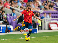 ORLANDO, FL - MARCH 05: Ona Batlle #2 of Spain passes the ball during a game between Spain and Japan at Exploria Stadium on March 05, 2020 in Orlando, Florida.