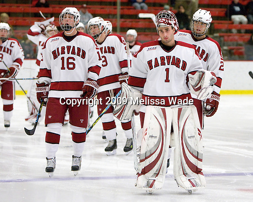 Alex Fallstrom (Harvard - 16), John Riley (Harvard - 1) - The St. Lawrence University Saints defeated the Harvard University Crimson 3-2 on Friday, November 20, 2009, at the Bright Hockey Center in Cambridge, Massachusetts.