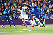 9th September 2017, King Power Stadium, Leicester, England; EPL Premier League Football, Leicester City versus Chelsea; Tiemoué Bakayoko of Chelsea and Islam Slimani of Leicester City compete hard in midfield for the ball