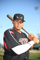 Josh Naylor (32) of the Lake Elsinore Storm poses for a photo before a game against the Lancaster JetHawks at The Hanger on August 2, 2016 in Lancaster, California. Lake Elsinore defeated Lancaster, 10-9. (Larry Goren/Four Seam Images)