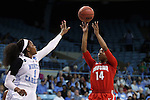 23 March 2015: Ohio State's Ameryst Alston (14) and North Carolina's Stephanie Mavunga (1). The University of North Carolina Tar Heels hosted the Ohio State University Buckeyes at Carmichael Arena in Chapel Hill, North Carolina in a 2014-15 NCAA Division I Women's Basketball Tournament second round game. UNC won the game 86-84.
