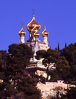 Above the Kidron Valley, east of the Old City of Jerusalem (Israel), the Russian Orthodox church of Mary Magdalene.