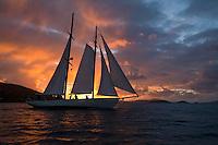 Sailing vessel Heron at sunset from Francis Bay, St. John.U.S. Virgin Islands
