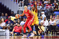 Washington, DC - August 17, 2018: Washington Mystics guard Elena Delle Donne (11) is guarded by Los Angeles Sparks Nneka Ogwumike (31) during game between the Washington Mystics and Los Angeles Sparks at the Capital One Arena in Washington, DC. (Photo by Phil Peters/Media Images International)