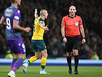 2nd November 2019; Hampden Park, Glasgow, Scotland; Scottish League Cup Football, Hibernian versus Celtic; Scott Brown of Celtic remonstrates with referee Bobby Madden after Celtic are denied a penalty - Editorial Use