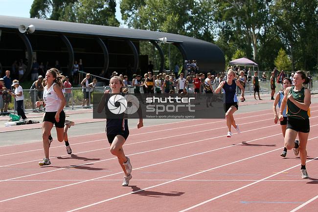U19.5G 100m final. TSS Athletics Championships 2012, 10 Mar 2012,  Saxton Athletic Stadium, Nelson, New Zealand<br /> Photo: Marc Palmano/shuttersport.co.nz