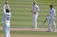 Simon Harmer (centre) of Essex looks on as Nick Browne takes the catch of Ryan Patel during Surrey CCC vs Essex CCC, Specsavers County Championship Division 1 Cricket at the Kia Oval on 14th April 2019