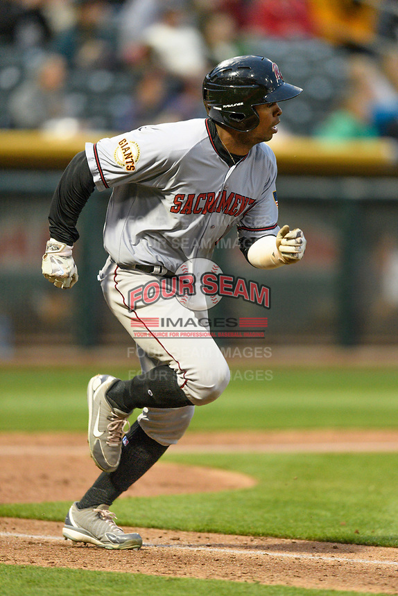 Wynton Bernard (6) of the Sacramento River Cats hustles down the first base line against the Salt Lake Bees in Pacific Coast League action at Smith's Ballpark on April 11, 2017 in Salt Lake City, Utah.  The River Cats defeated the Bees 8-7. (Stephen Smith/Four Seam Images)