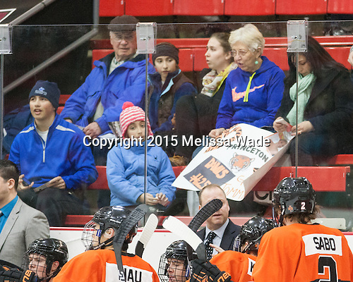 Tommy Davis (Princeton - 25) had some fans in the stands. - The Harvard University Crimson defeated the visiting Princeton University Tigers 5-0 on Harvard's senior night on Saturday, February 28, 2015, at Bright-Landry Hockey Center in Boston, Massachusetts.