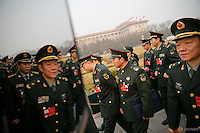Military delegates arrive for the closing ceremony of China's National People's Congress (NPC) at the Great Hall of the People in Beijing, China, March 16, 2016.