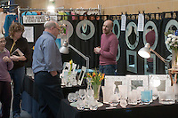 Display of etched glassword by Four Hands (www.fourhands.co.uk), at the Craft & Design Show (www.craftinfocus.com), Spectrum Leisure Centre, Guildford.