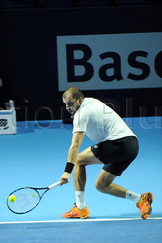 25.10.2016.  St. Jakobshalle, Basel, Switzerland. Basel Swiss Indoors Tennis Championships. Day 2. Gilles Muller in action in the match against  Grigor Dimitrov of Bulgaria