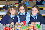 Making friends on their first day at Currow NS on Tuesday was l-r: Danielle Huggard-Moriarty, Emma Buckley and Celia McMahon
