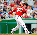 1 May 2011: Washington Nationals outfielder Laynce Nix in action against the San Francisco Giants at Nationals Park in Washington, District of Columbia. The Nationals defeated the Giants 5-2. Mandatory Credit: Ed Wolfstein Photo