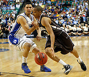 Austin Rivers defends Lehigh's C.J. McCollum in the first half. Lehigh defeated Duke 75-70 during the 2nd round of the 2012 NCAA Basketball Championship at the Greensboro Coliseum in Greensboro, NC. Photo by Al Drago.