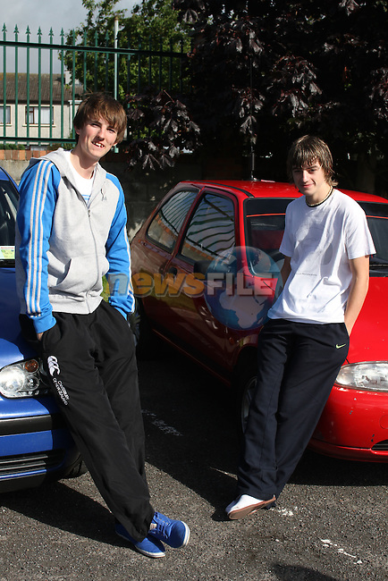 Robbie O'Keefe and Craig Culligan after recieving their leaving cert results at St. Josephs School, Drogheda, Co.Louth...Picture Jenny Matthews/Newsfile.ie