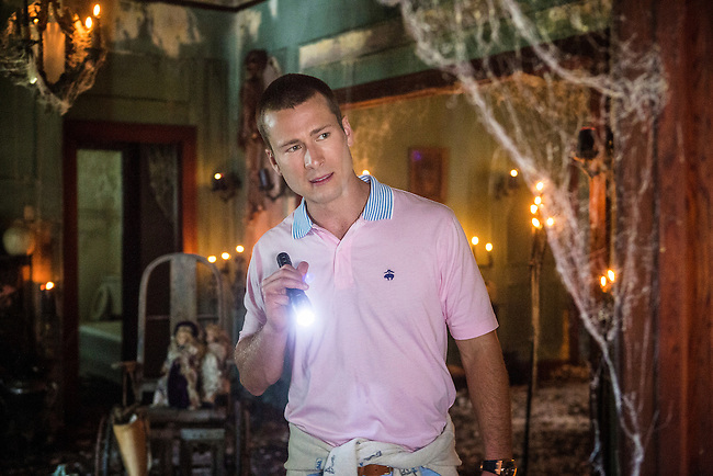 Glen Powell as Chad in the Haunted House in Scream Queens, Season 1