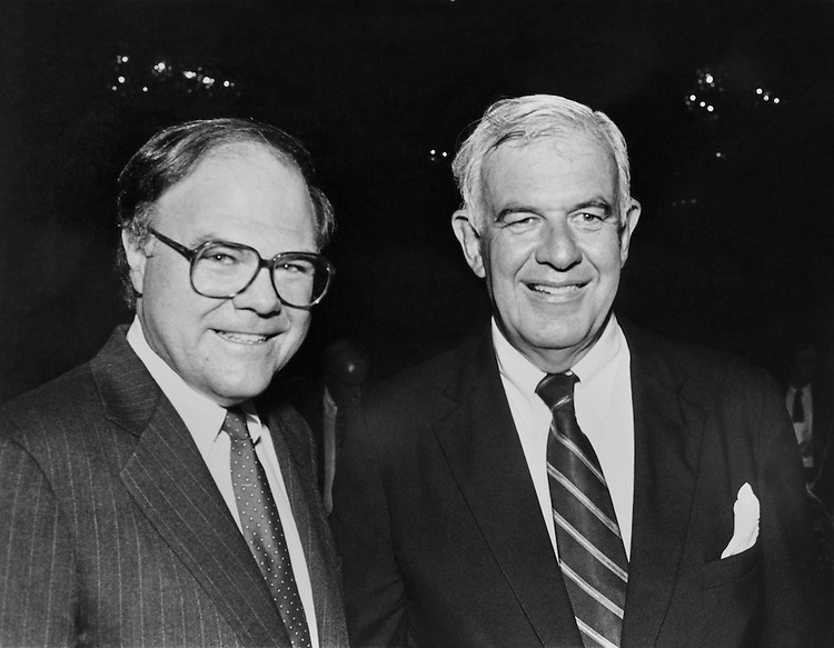 "Speaker of the House Rep. Thomas Stephen ""Tom"" Foley, D-Wash. and Lawrence Francis O'Donnell, Political Analyst. September 25, 1990 (Photo by Andrea Mohin/CQ Roll Call)"