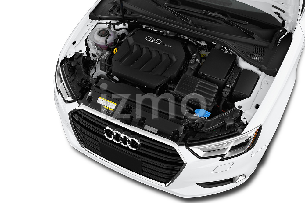 Car stock 2018 Audi A3 Premium 2 Door Convertible engine high angle detail view