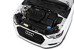 Car stock 2018 Audi A3 Premium 2 Door Convertible engine high angle detail view
