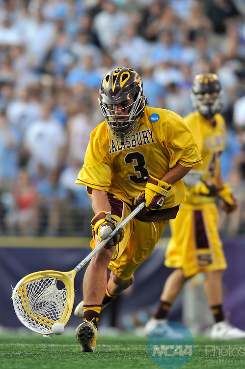 29 MAY 2011:  Johnny Rodriguez (3) of Salisbury University retrIeves the ball during the game against Tufts University during the Division III Men's Lacrosse Championship held at M+T Bank Stadium in Baltimore, MD.  Salisbury defeated Tufts 19-7 for the national title. Larry French/NCAA Photos
