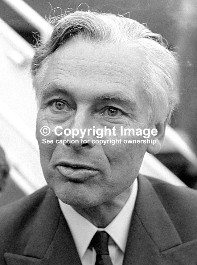 Sir Richard Sharples, MP, UK Minister of State, Home Office, pictured during a visit to N Ireland, November 1970. He resigned his seat in 1972 to take up the position of Governor of Bermuda. He was assassinated in 1973 by a faction associating itself with the Black Power movement. 197011000409a<br /> <br /> Copyright Image from Victor Patterson, 54 Dorchester Park, Belfast, UK, BT9 6RJ<br /> <br /> Tel: +44 28 9066 1296<br /> Mob: +44 7802 353836<br /> Voicemail +44 20 8816 7153<br /> Email: victorpatterson@me.com<br /> Email: victorpatterson@gmail.com<br /> <br /> IMPORTANT: My Terms and Conditions of Business are at www.victorpatterson.com