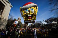 "A holiday-themed ""SpongeBob SquarePants"" float take part during the 89th Macy's Thanksgiving Annual Day Parade in the Manhattan borough of New York.  11/26/2015. Eduardo MunozAlvarez/VIEWpress"