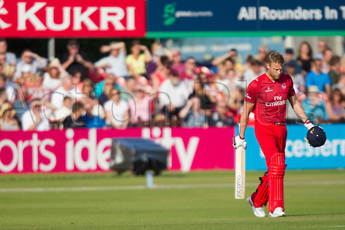 11.07.2014. Leicester, England. NatWest T20 Blast, Leicestershire Foxes vs Lancashire Lightning. A FLINTOFF (Lancashire Lightning) walks on to bat.