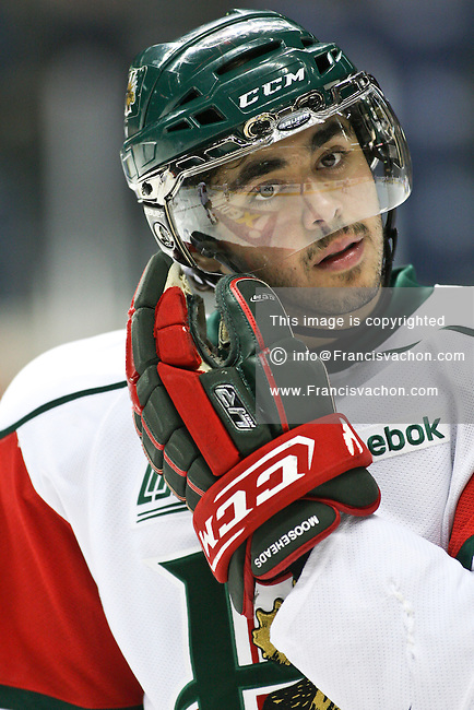 QMJHL (LHJMQ) hockey profile photo on Halifax Mooseheads Luca Ciampini November 19, 2011 at the Colisee Pepsi in Quebec city.