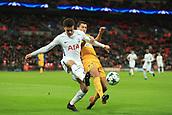 6th December 2017, Wembley Stadium, London England; UEFA Champions League football, Tottenham Hotspur versus Apoel Nicosia; Jesús Rueda of Apoel FC challenges Dele Alli of Tottenham Hotspur