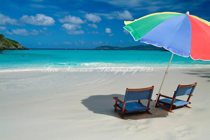 Beach umbrella and chairs <br /> Trunk Bay, St John<br /> Virgin Islands National Park