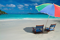 Beach umbrella and chairs <br />