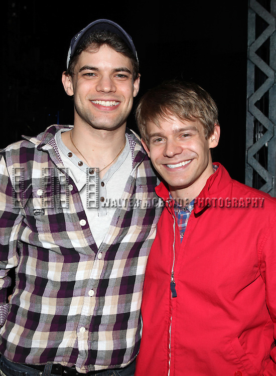Jeremy Jordan & Andrew Keenan-Bolger.attending the Actors' Equity Broadway Opening Night Gypsy Robe Ceremony for Aaron J. Albano in.'Newsies - The Musical' at the Nederlander Theatre in NewYork City on 3/29/2012