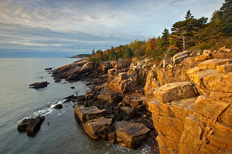 View of rugged granite coastline at Acadia National Park, Maine, USA
