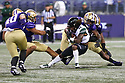 SEATTLE, WA - SEPTEMBER 14: Washington's (11) Alex Cook (DB) hangs onto a tape string while teammate (48) Edefuan Ulofoshio tackles Hawaii's (14) James Phillips (WR) during the college football game between the Washington Huskies and the Hawaii Rainbow Warriors on September 14, 2019 at Husky Stadium in Seattle, WA. Jesse Beals / www.Olympicphotogroup.com