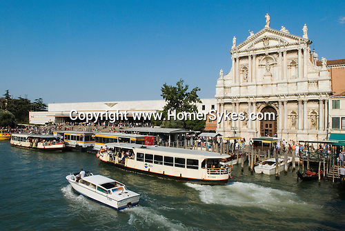 Venice Italy 2009. Grand Canal, train station Venezia Santa Lucia train Station. Ferrovia Vaporetto waterbus stop.