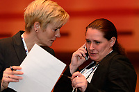 Philadelphia, PA - Thursday January 18, 2018: Vera Pauw, Lisa Cole during the 2018 NWSL College Draft at the Pennsylvania Convention Center.