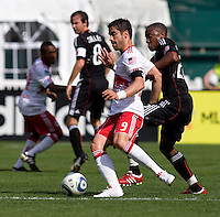 Rodney Wallace (22) of D.C. United tries to take the ball away from Juan Pablo Angel (9) of the New York Red Bulls at RFK Stadium in Washington, DC.  The New York Red Bulls defeated D.CC United, 2-0.