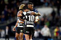 Naulia Dawai of Otago shakes hands with Lincoln McClutchie of Hawkes Bay after the 2018 Mitre 10 Cup Championship rugby semifinal between Canterbury and Counties Manukau at Forsyth Barr Stadium in Dunedin, New Zealand on Saturday, 20 October 2018. Photo: Joe Allison / lintottphoto.co.nz