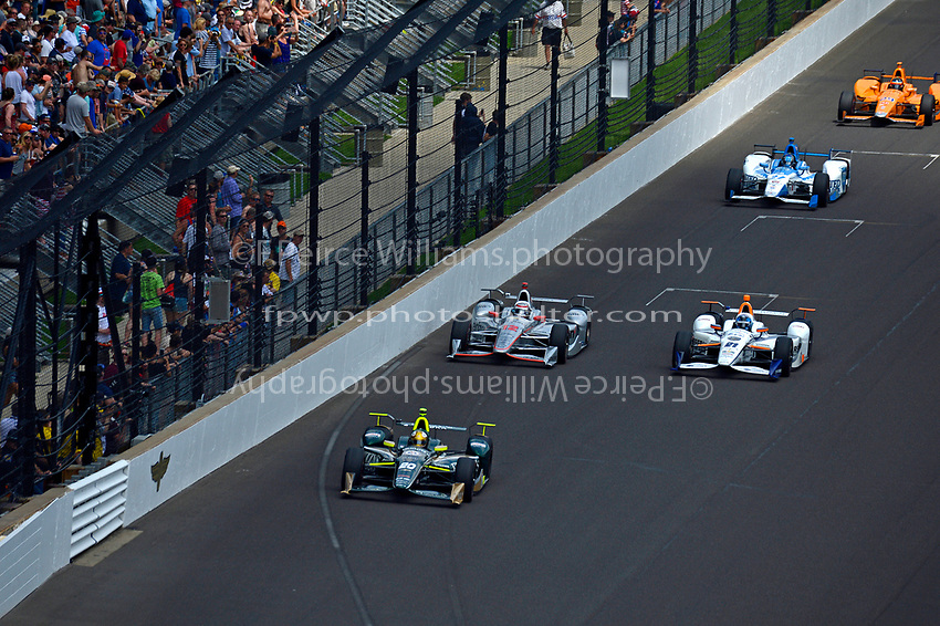 Verizon IndyCar Series<br /> Indianapolis 500 Race<br /> Indianapolis Motor Speedway, Indianapolis, IN USA<br /> Sunday 28 May 2017<br /> Ed Carpenter, Ed Carpenter Racing Chevrolet, Will Power, Team Penske Chevrolet, JR Hildebrand, Ed Carpenter Racing Chevrolet, Marco Andretti, Andretti Autosport with Yarrow Honda, Fernando Alonso, McLaren-Honda-Andretti Honda<br /> World Copyright: F. Peirce Williams<br /> LAT Images
