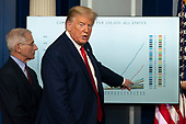 United States President Donald J. Trump points to a chart as he speaks in a news briefing by members of the Coronavirus Task Force at the White House in Washington, DC on Tuesday, March 31, 2020.  At left is Director of the National Institute of Allergy and Infectious Diseases at the National Institutes of Health Dr. Anthony Fauci.<br /> Credit: Chris Kleponis / Pool via CNP