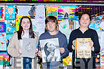 The winners of the U18 category at the Birds Amusements Art competition in Killarney on Saturday evening l-r:Kelsey Somers, Patrick Dineen and Elaine Wang