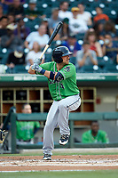 Sean Kazmar Jr. (4) of the Gwinnett Braves at bat against the Charlotte Knights at BB&T BallPark on July 12, 2019 in Charlotte, North Carolina. The Stripers defeated the Knights 9-3. (Brian Westerholt/Four Seam Images)