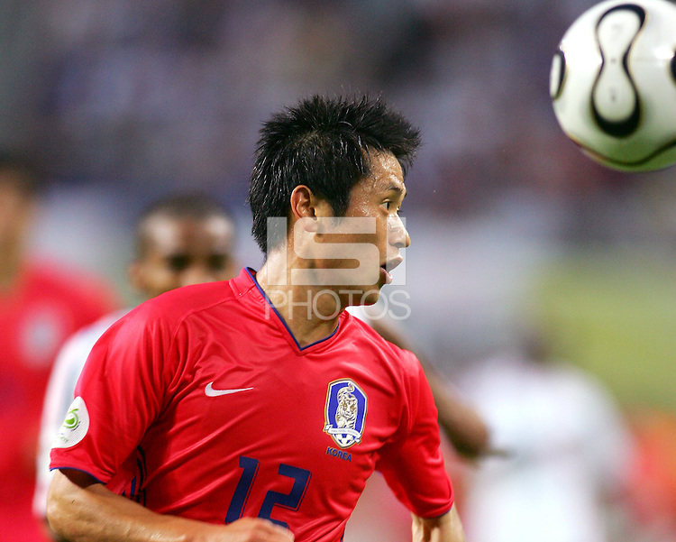Young Pyo Lee (12) of the Korea Republic.The Korea Republic and France played to a 1-1 tie in their FIFA World Cup Group G match at the Zentralstadion, Leipzig, Germany, June 18, 2006.